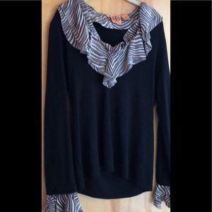 Tory Burch Carmen wool sweater striped collar cuff